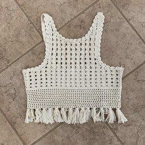 Zara Fringed Crochet Top